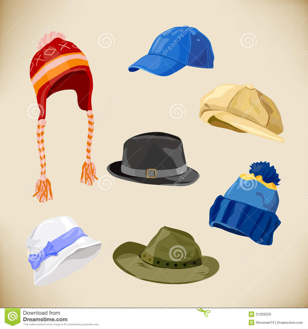 f95eec79370c9 Set Of Different Styles Of Hats Stock Vector - Illustration of head ...