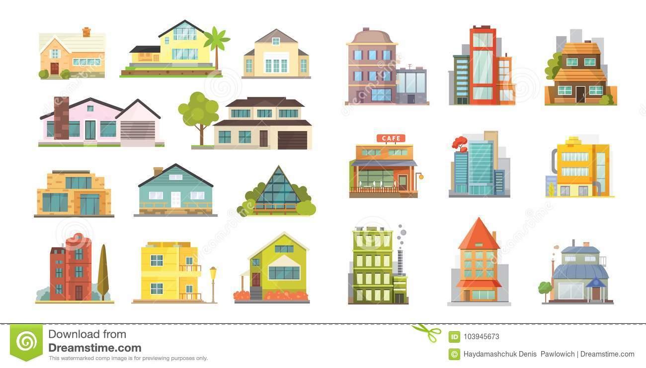 Set Of Different Styles Residential Houses City Architecture Retro