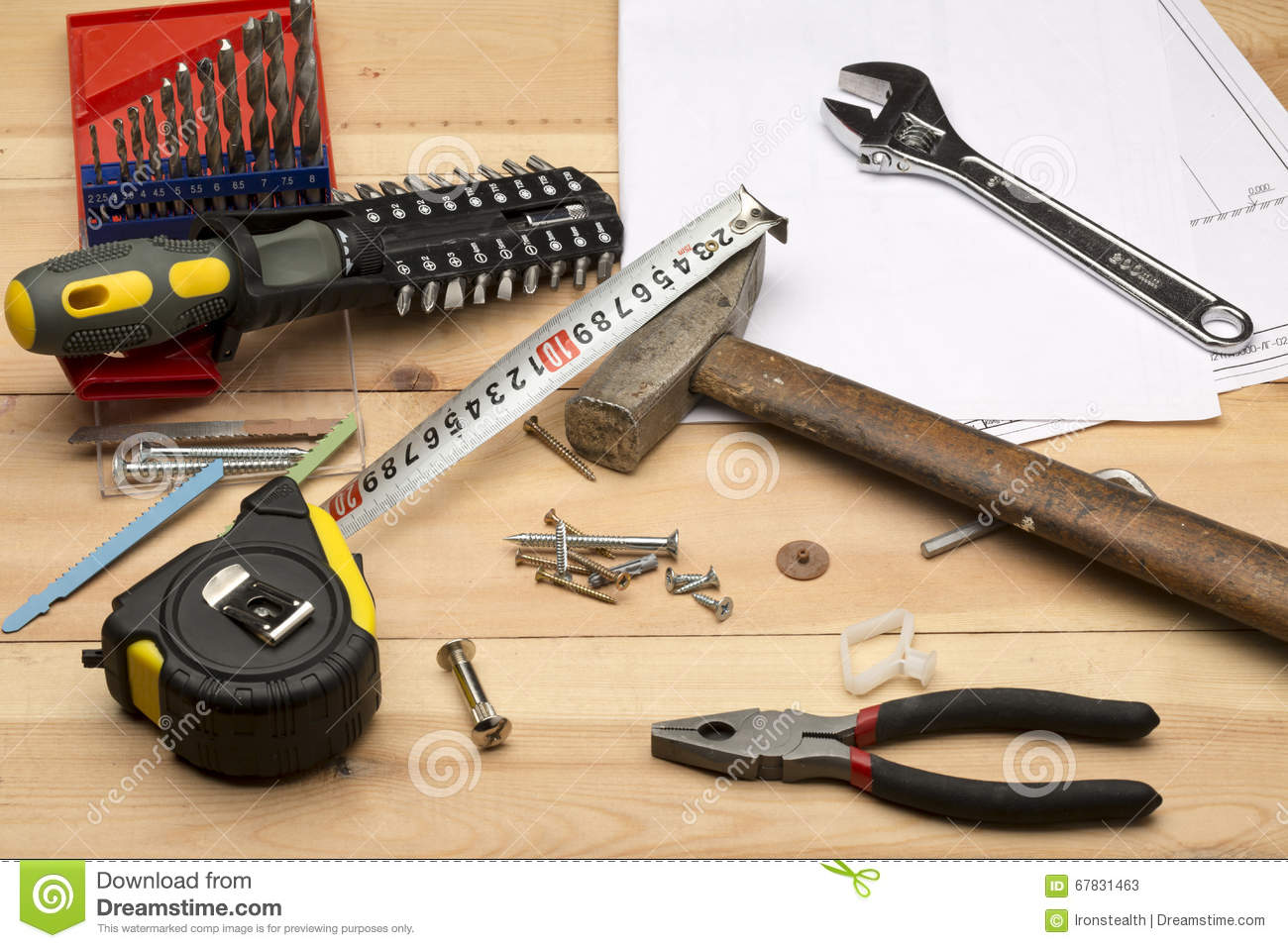 Set Of Different Tools For Repair And Construction Stock