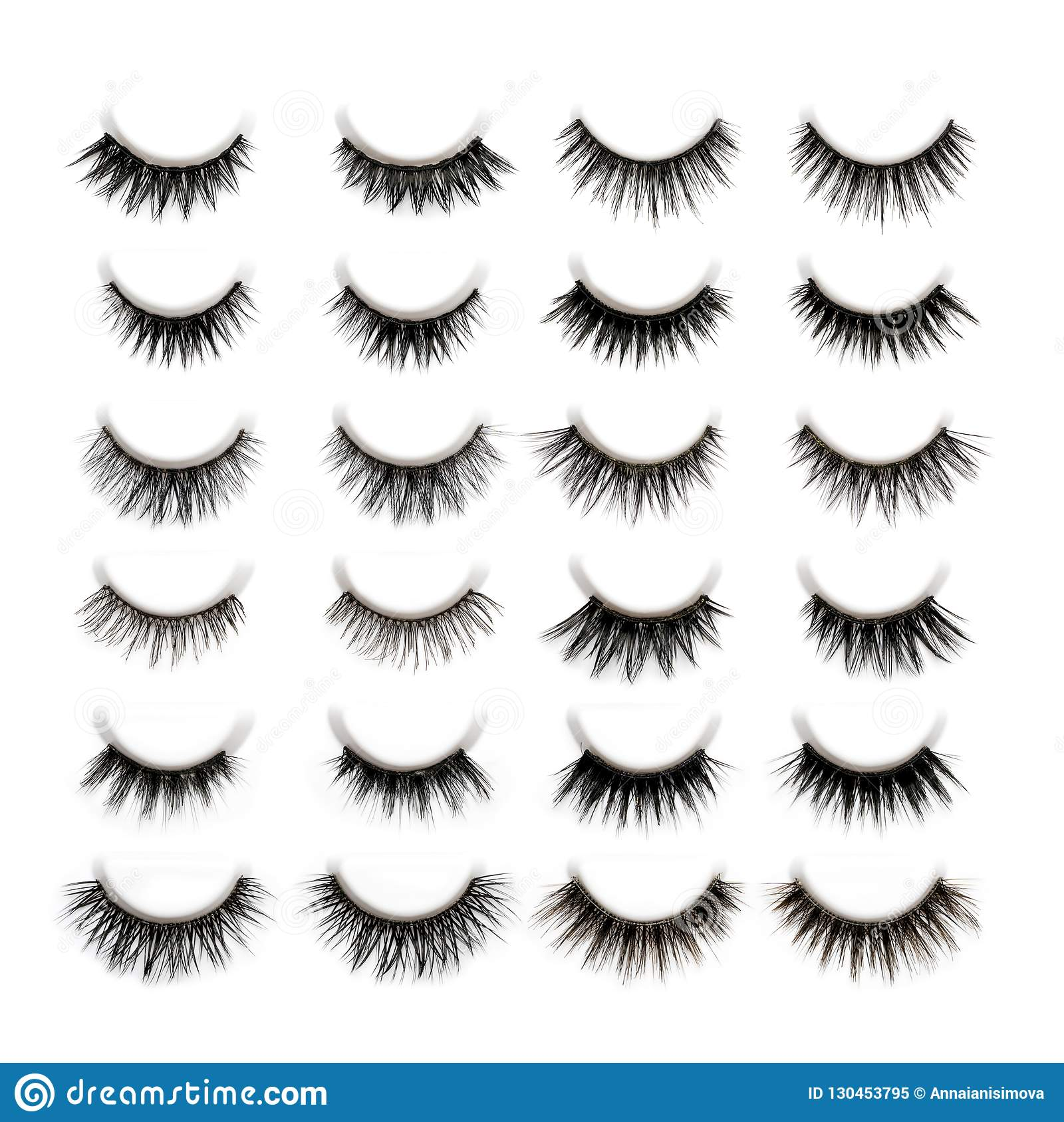 A Set Of 10 Different Types Of Black Long Dramatic False Eyelash