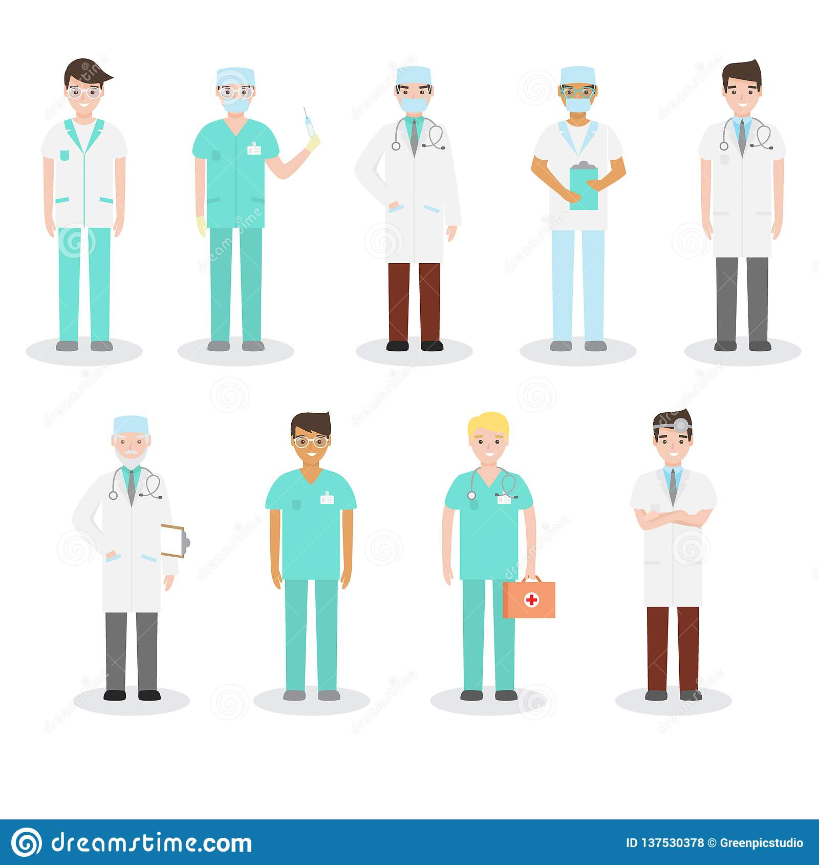 Set Of Different Types Of Doctors In Medical Attire Engaged