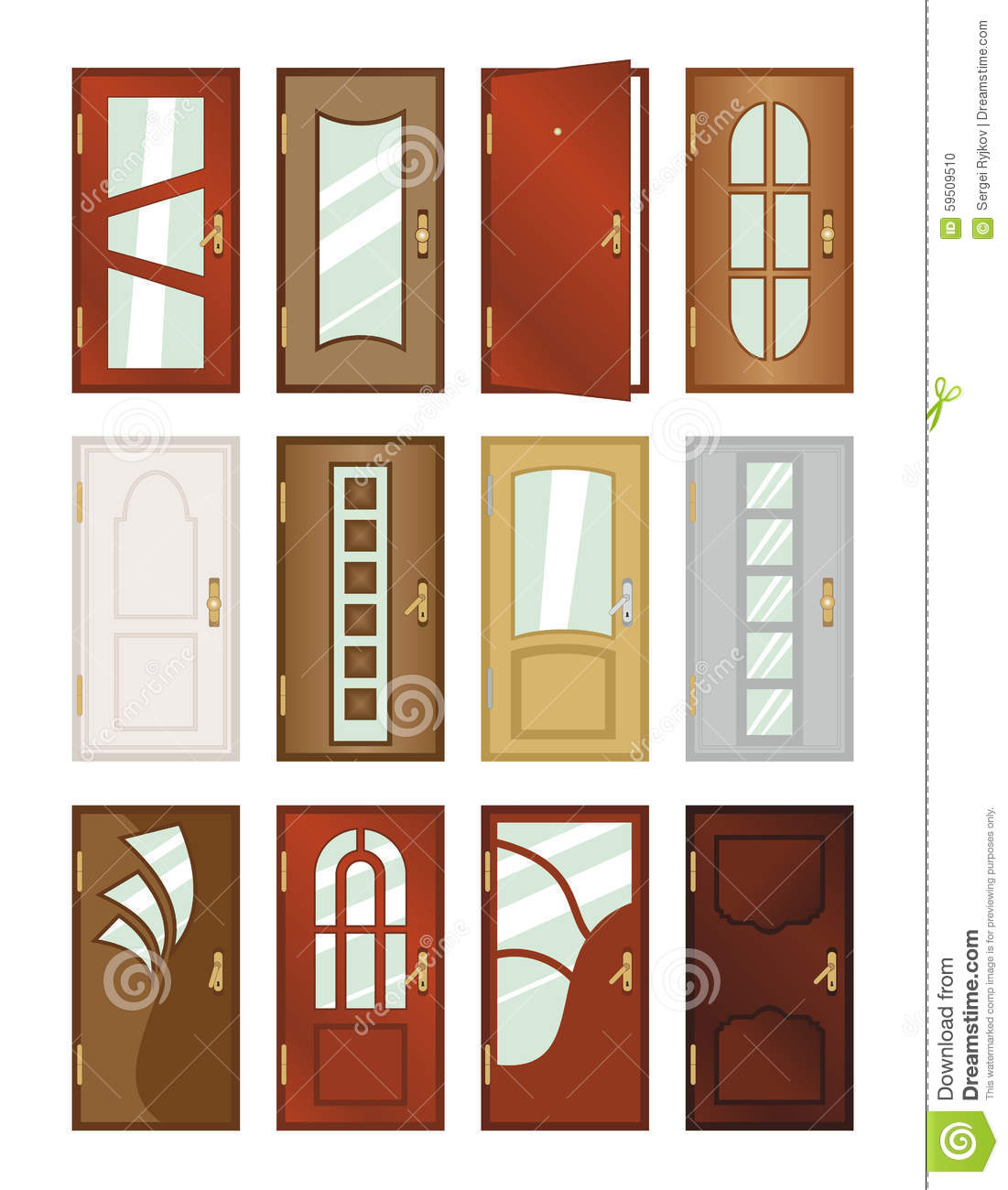 set of different types of doors stock illustration
