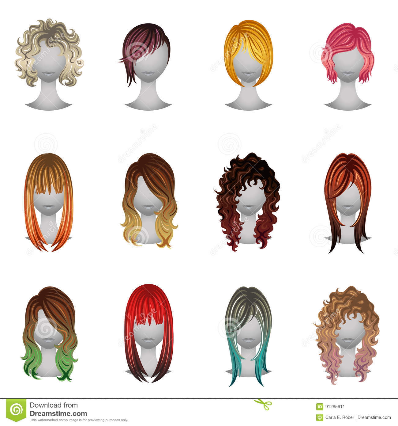 Set Of Different Types And Hair Colors Stock Vector - Illustration ...