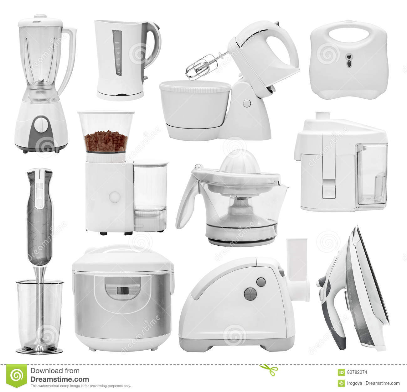 Kitchen equipment and their uses - Set Of Different Types Of Kitchen Appliances