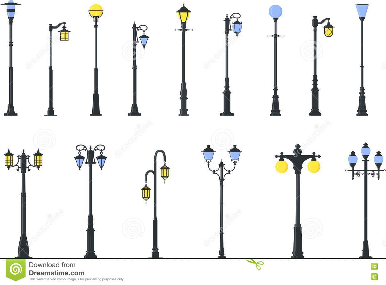 Set Of Different Types Of Street Lamps
