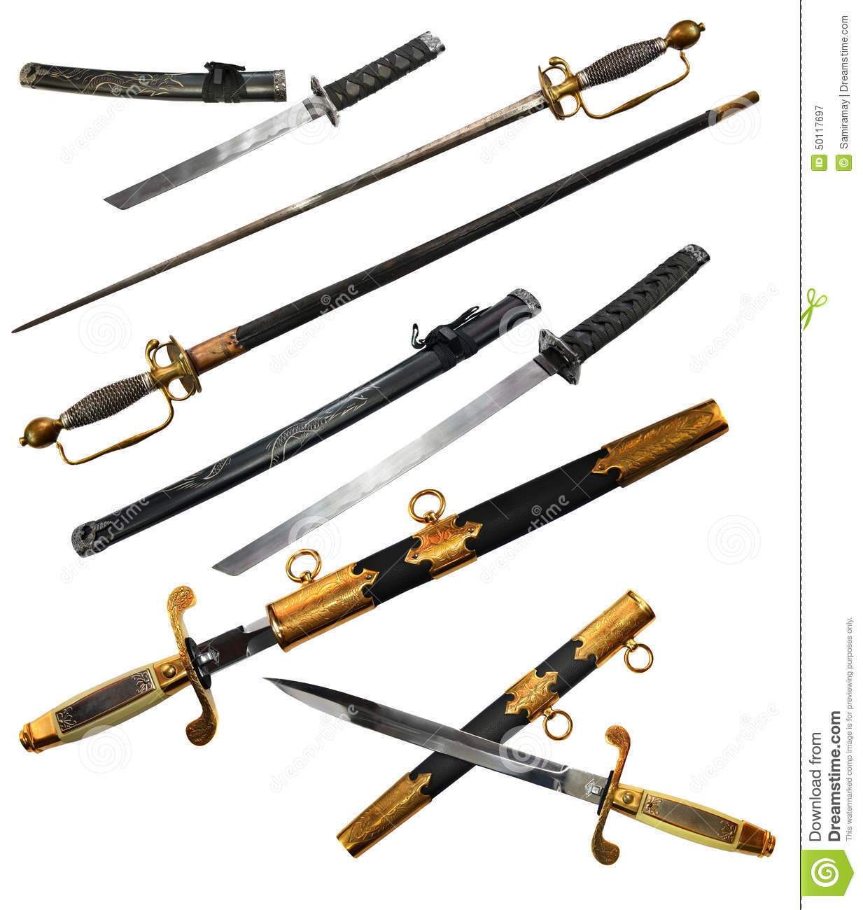 Set with different types of swords including katana small sword and