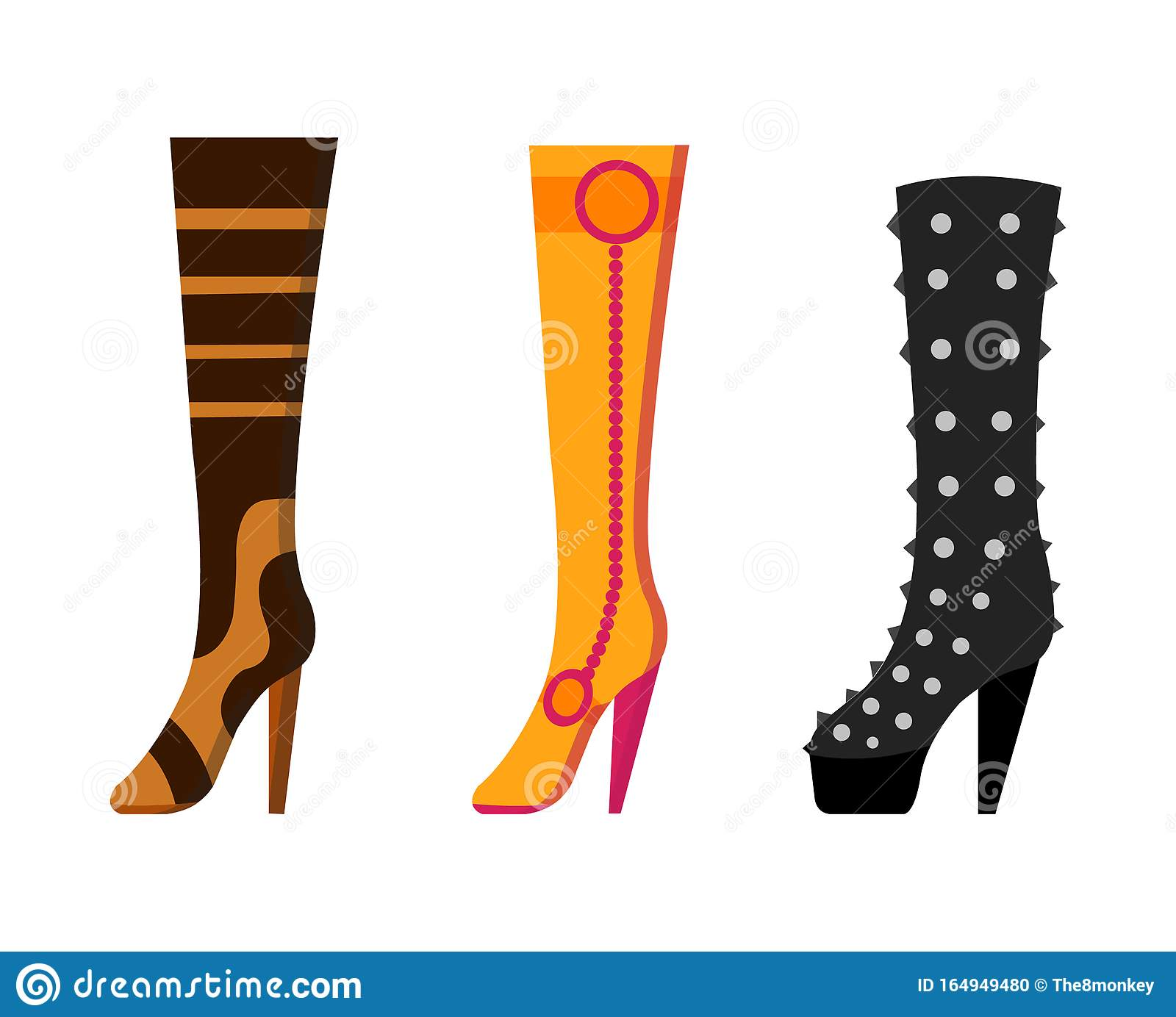 Set With Different Types Of Trend Womens Shoes Color Decorative Design Use For Advertising Shoe Store Or Website Flat Stock Vector Illustration Of Female Sandals 164949480