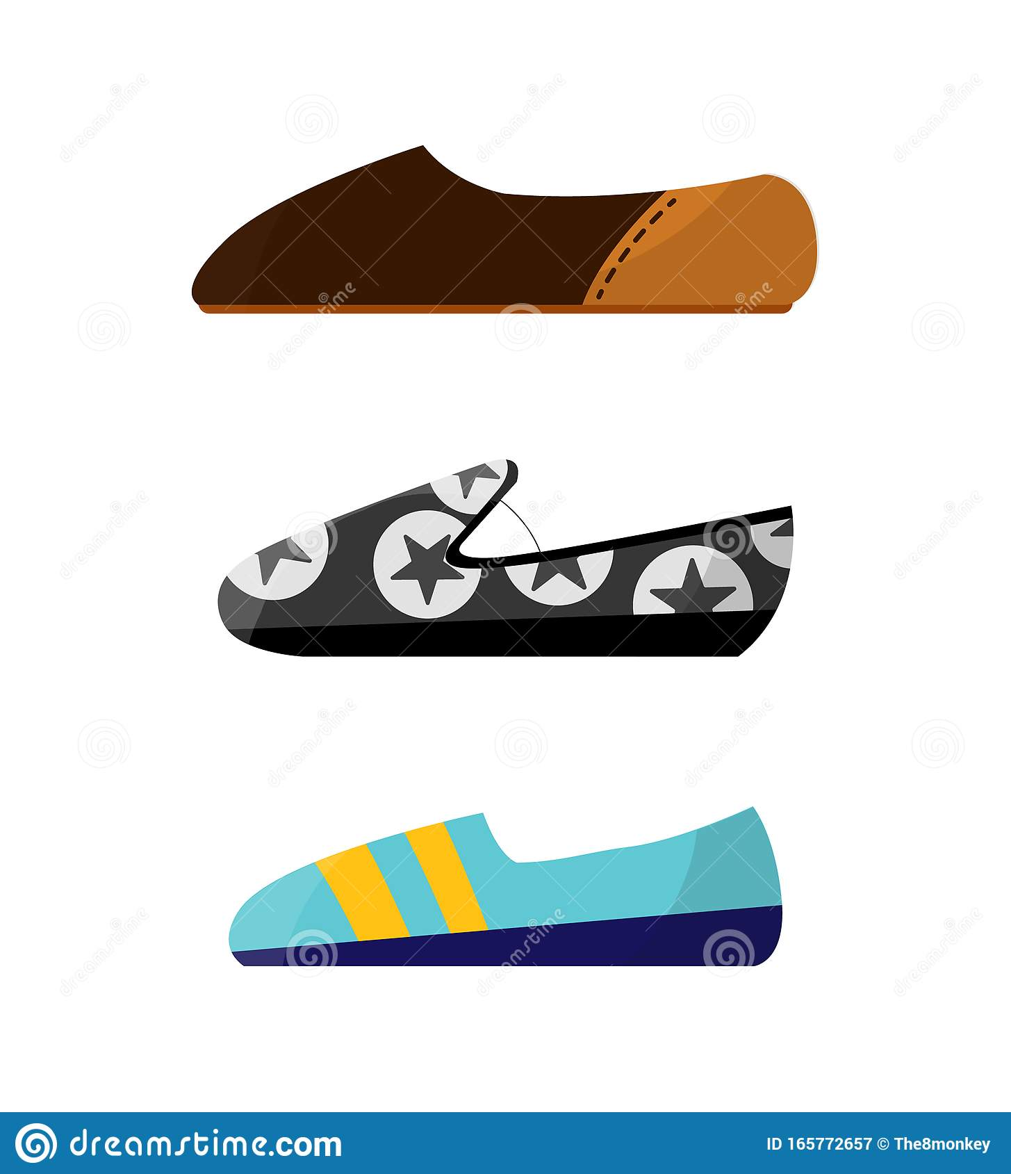 Set With Different Types Of Trend Womens Shoes Color Decorative Design Use For Advertising Shoe Store Or Website Flat Stock Vector Illustration Of Profile Different 165772657
