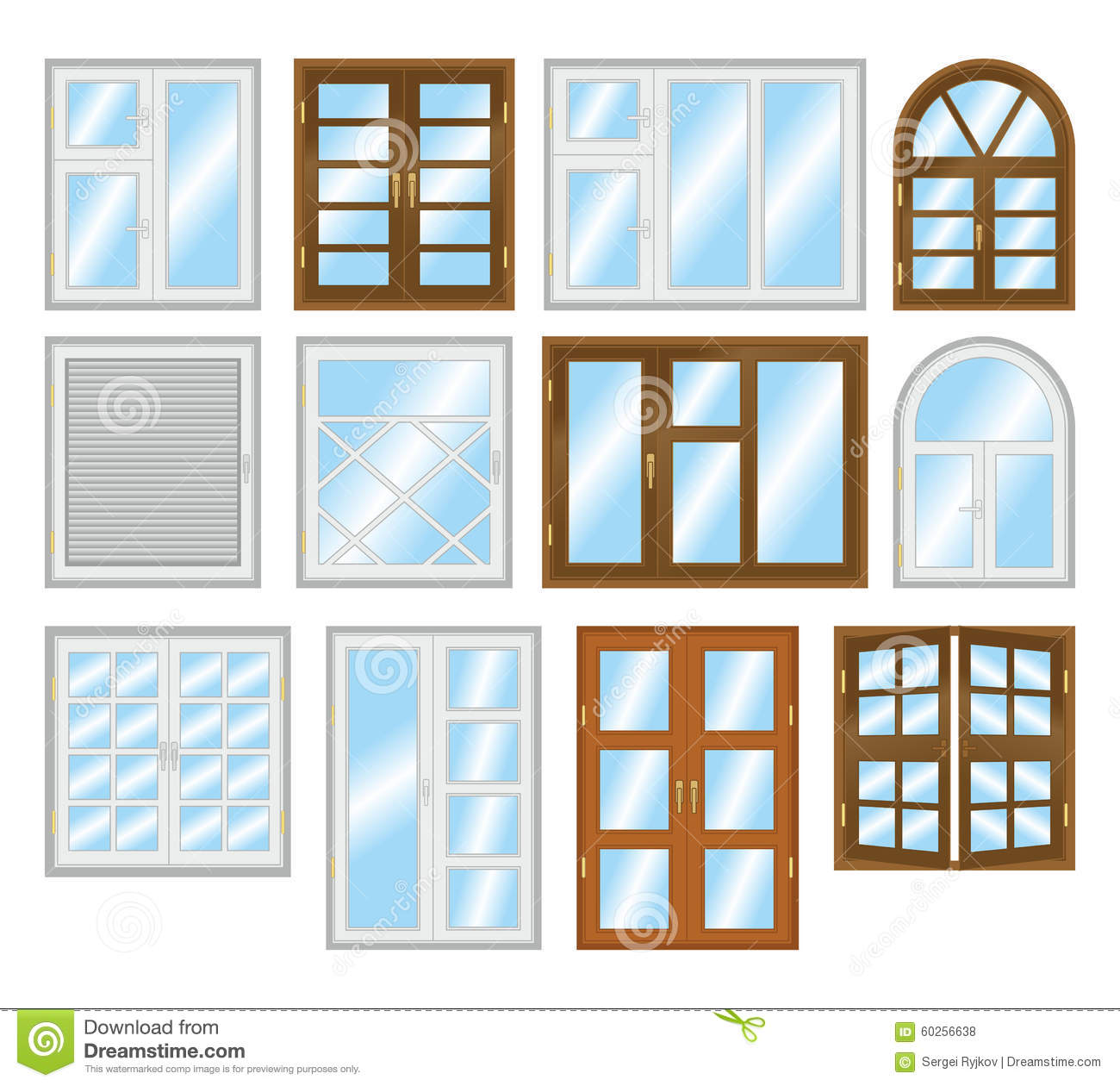 Set of different types of windows stock illustration for Types of windows