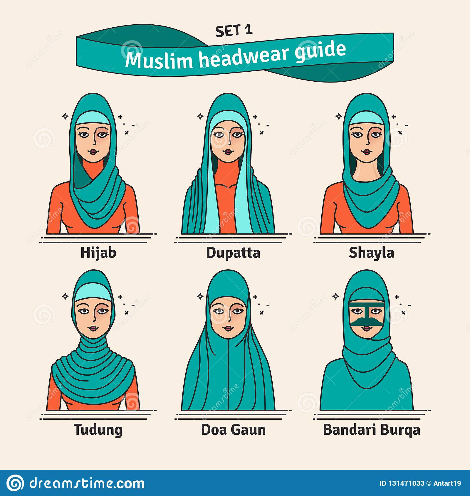 Muslim headwear guide. The set of different types of women headscarves.  Vector icon colorful e5748078f21