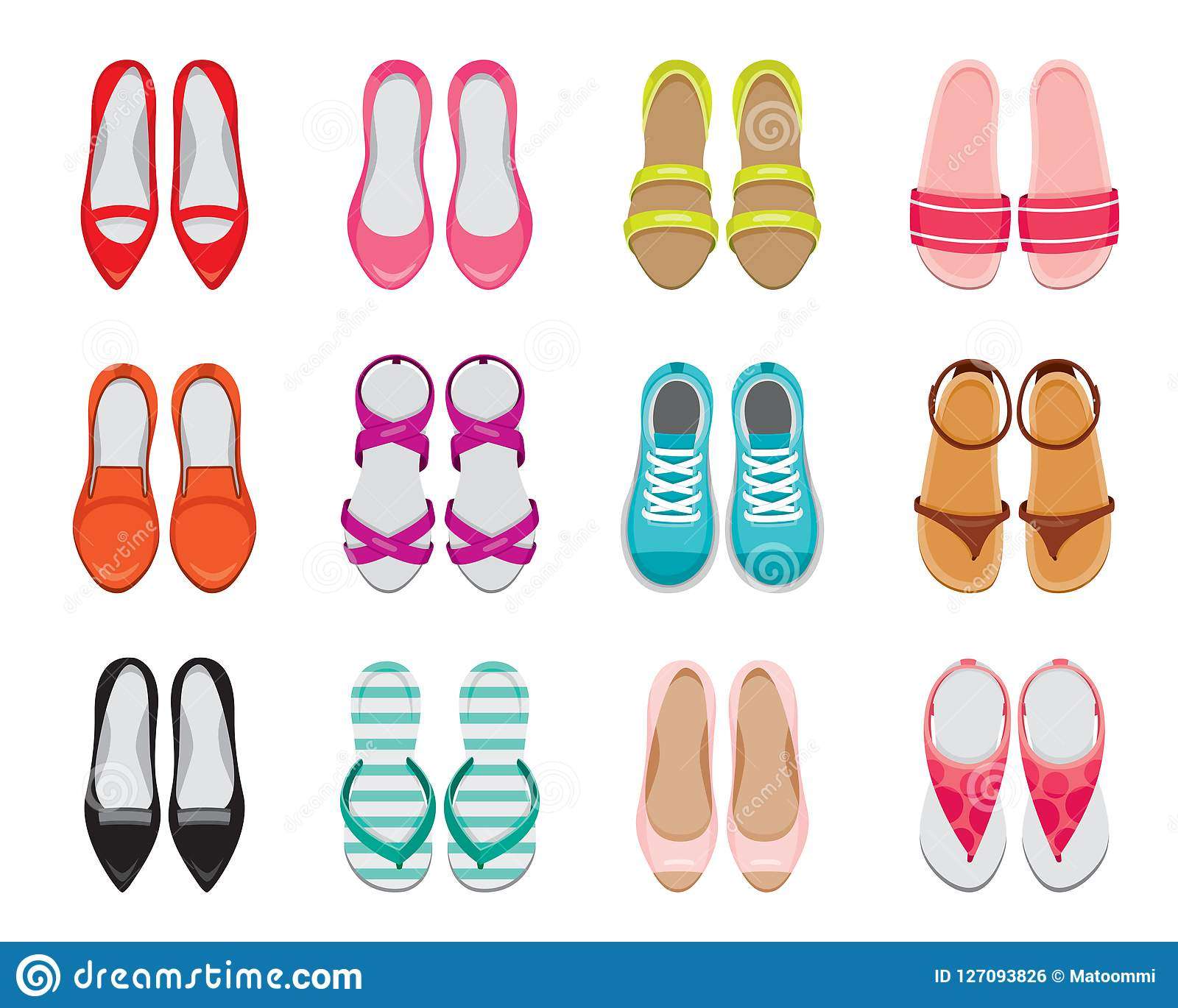 Set Of Different Types Of Womens Shoes Pair Top View Stock Vector