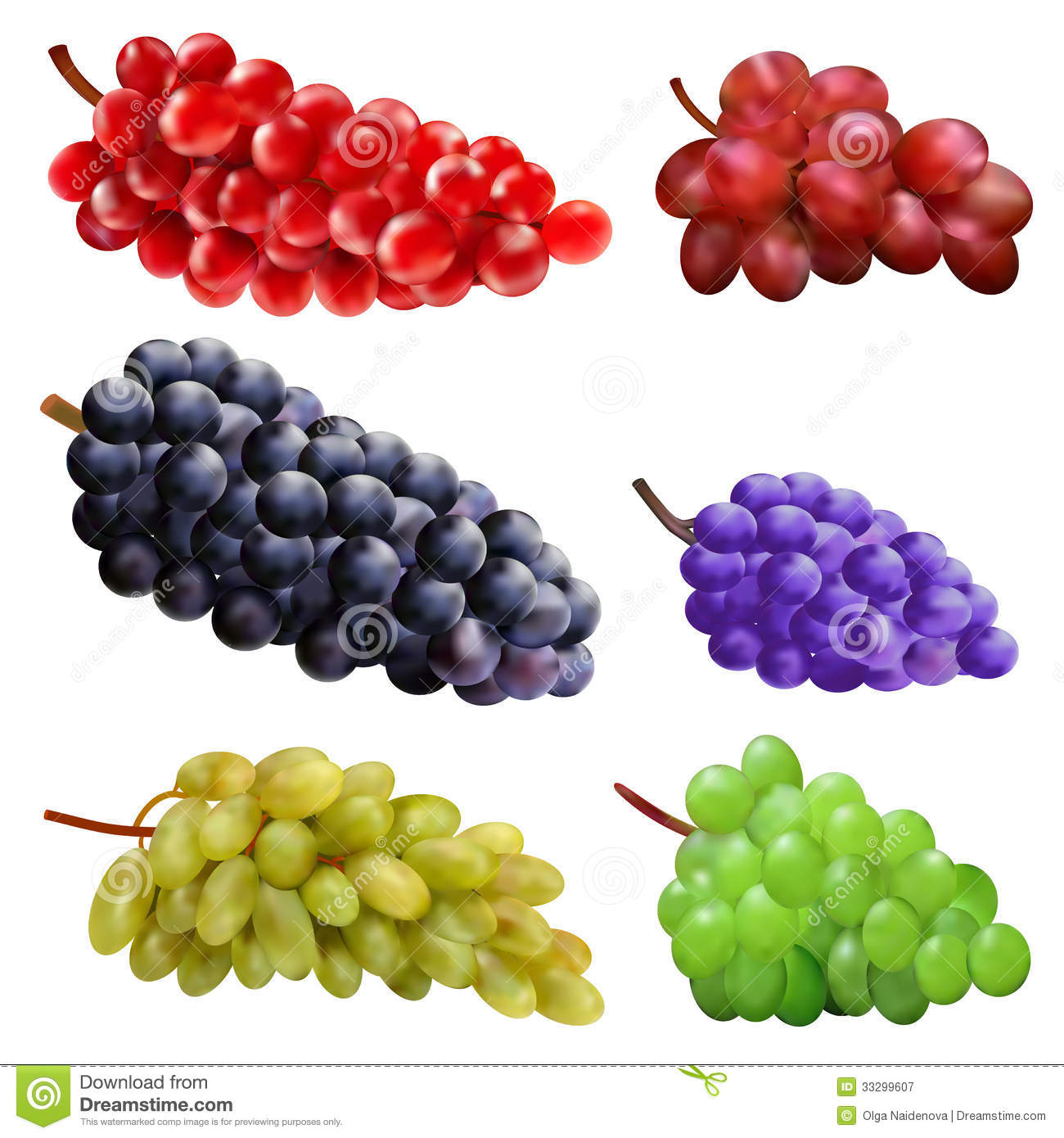 Set Of Different Varieties Of Grapes Royalty Free Stock