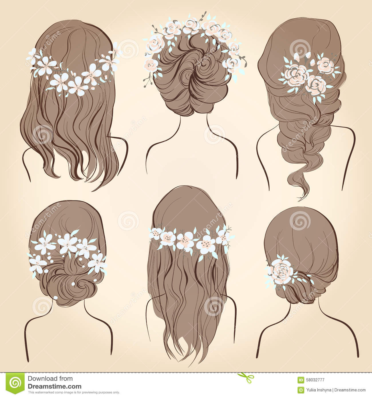 Set Of Different Vintage Style Hairstyles, Wedding Hairstyles Stock ...