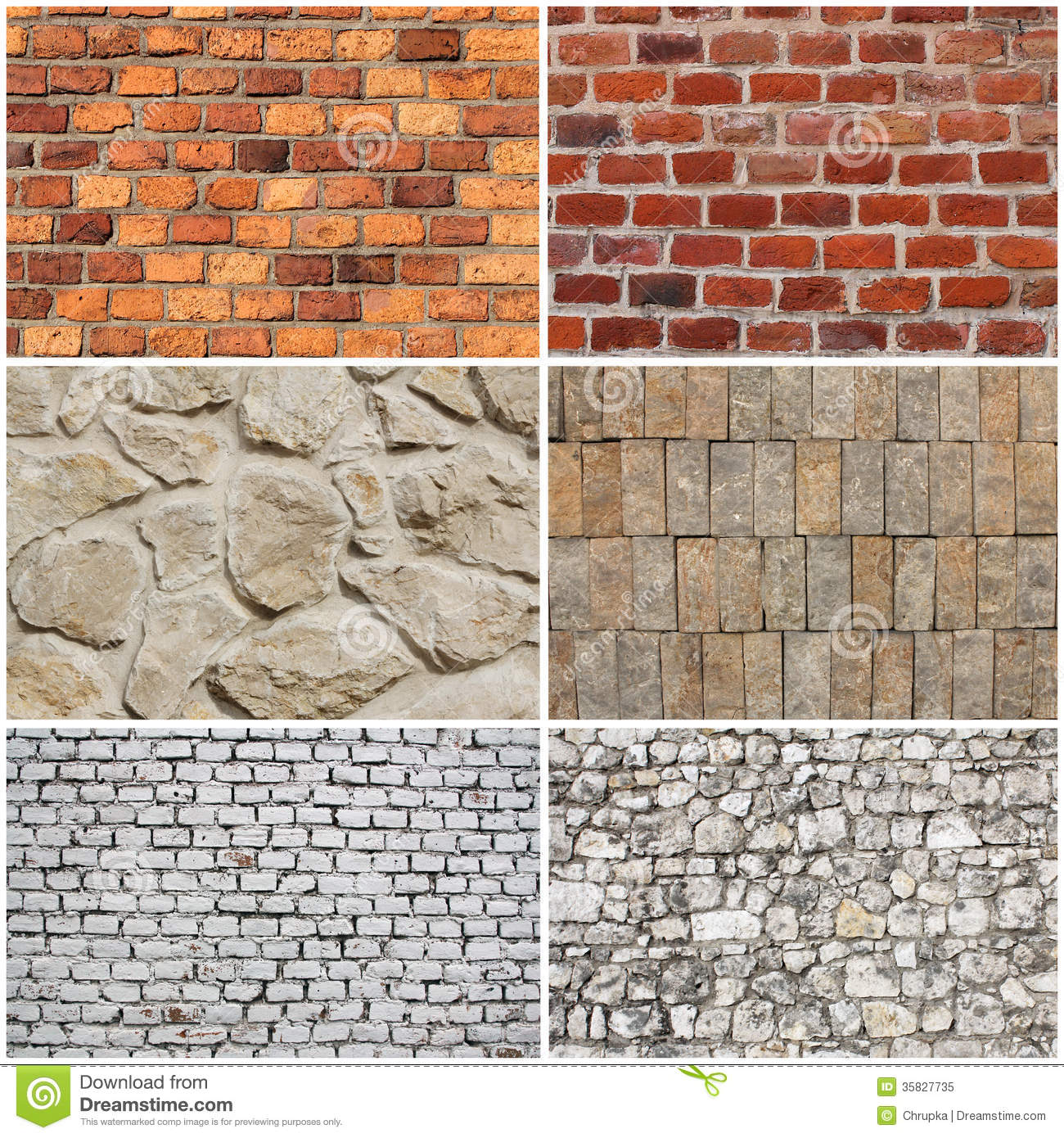 Set Of Different Wall Brick And Stone Texture Royalty Free