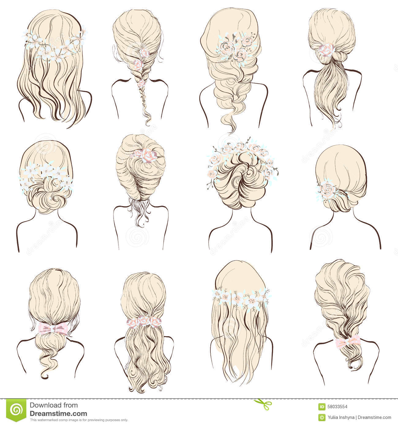 Set Of Different Wedding Hairstyles With Flowers For Blondes Stock ...