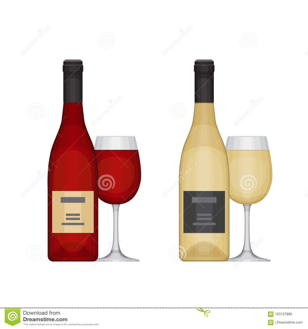 78aa1eee9c54 Set Of Different Wine Bottles With Glasses