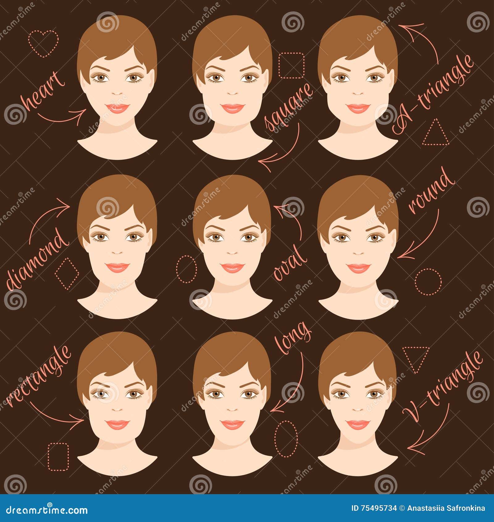 5615d15479d Set Of Different Woman Face Shapes. 2 Stock Illustration ...