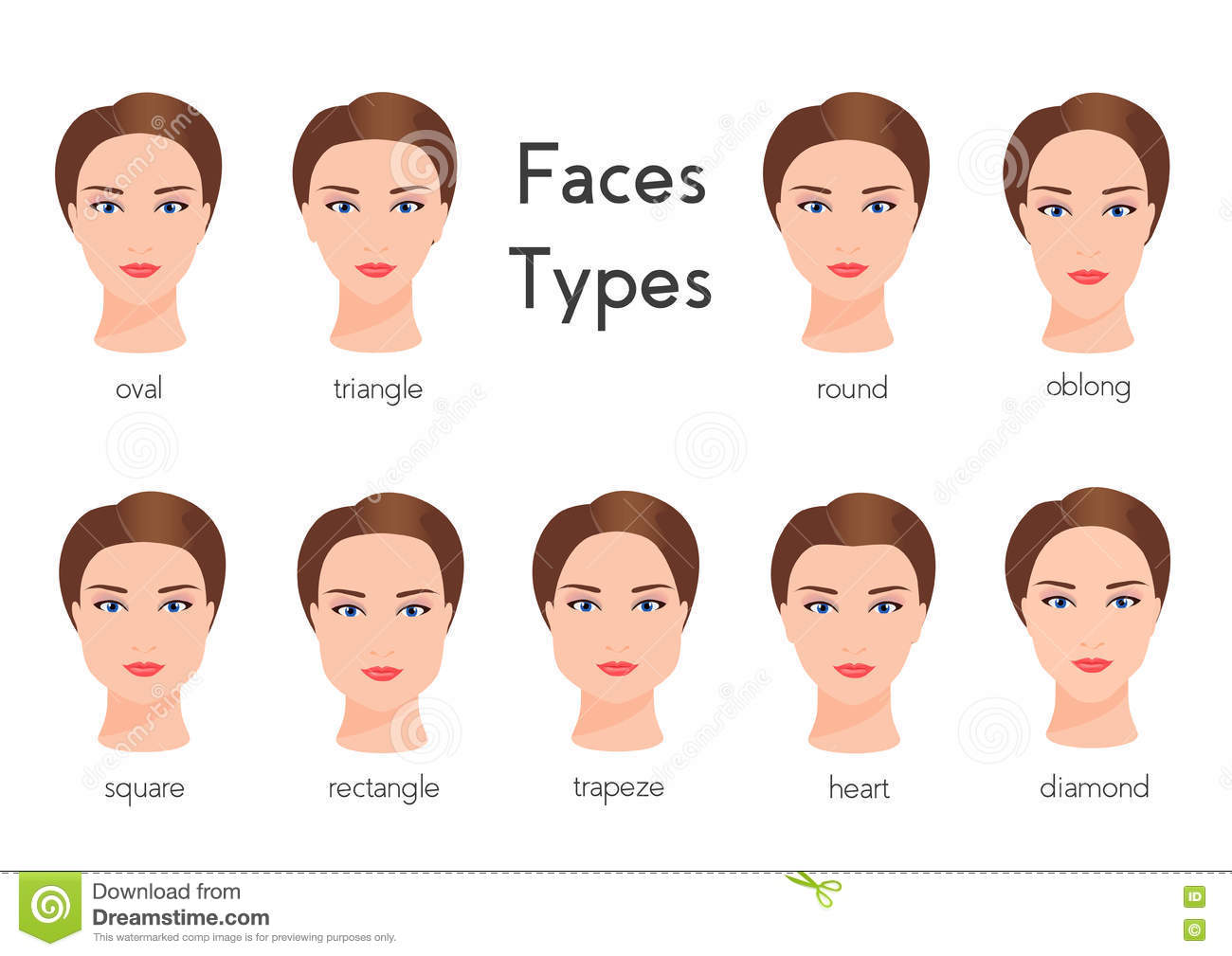 7ad3368aff7 Set of different woman face types Female face shapes. vector illustration