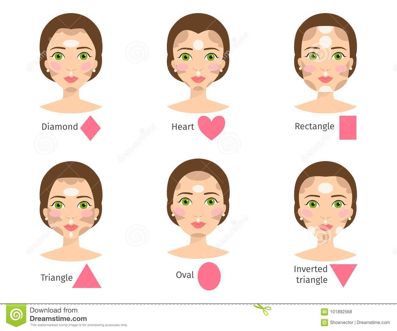 set of different woman face types vector illustration character