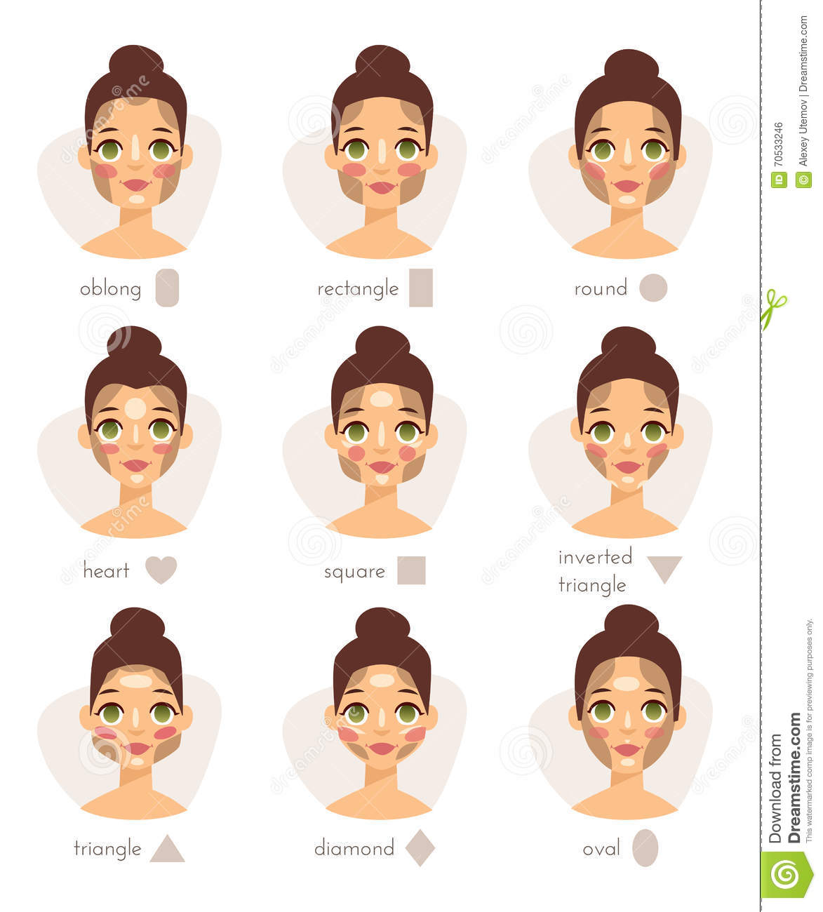 Set Of Different Woman Face Types Shapes Female Head