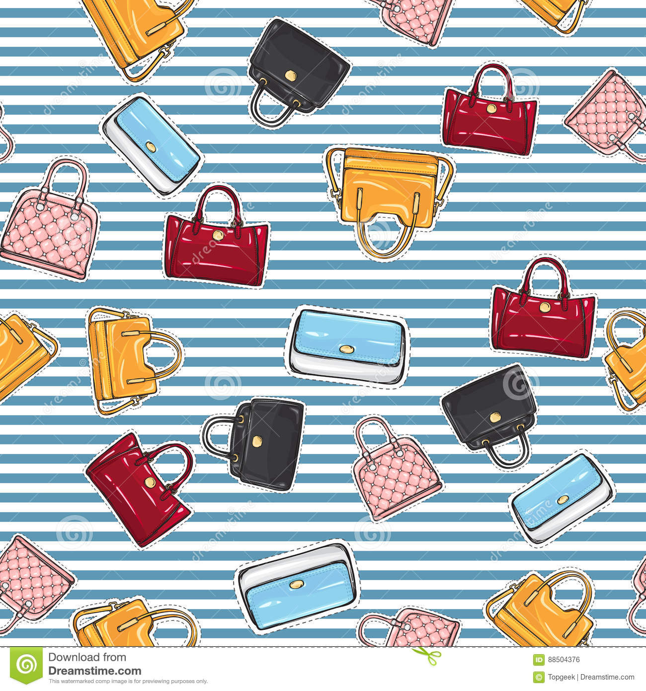 83a9c77a3c Collection of different women handbags on endless texture. Poster. Red