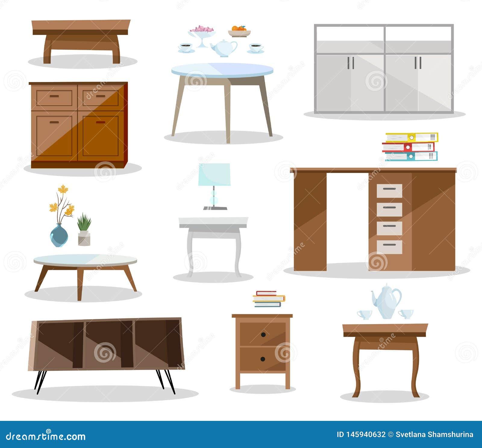 Set differernt sto?y Wygodny meblarski nightstand, biurko, biuro st??, stolik do kawy w nowo?ytnym projekcie