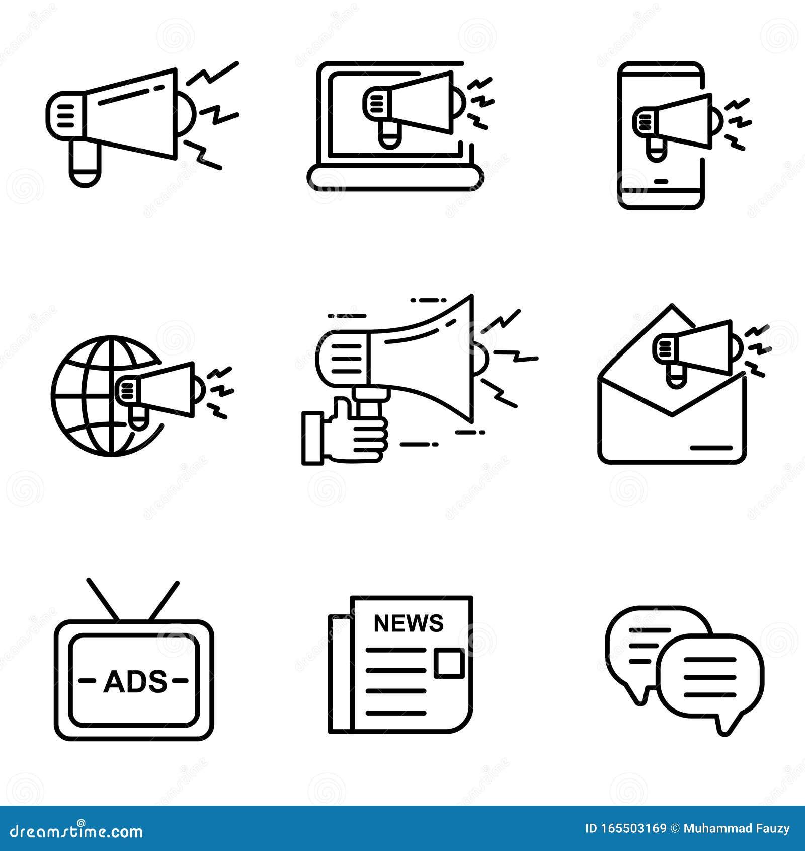 Set Of Digital Marketing Icon With Black Line Design Stock ...