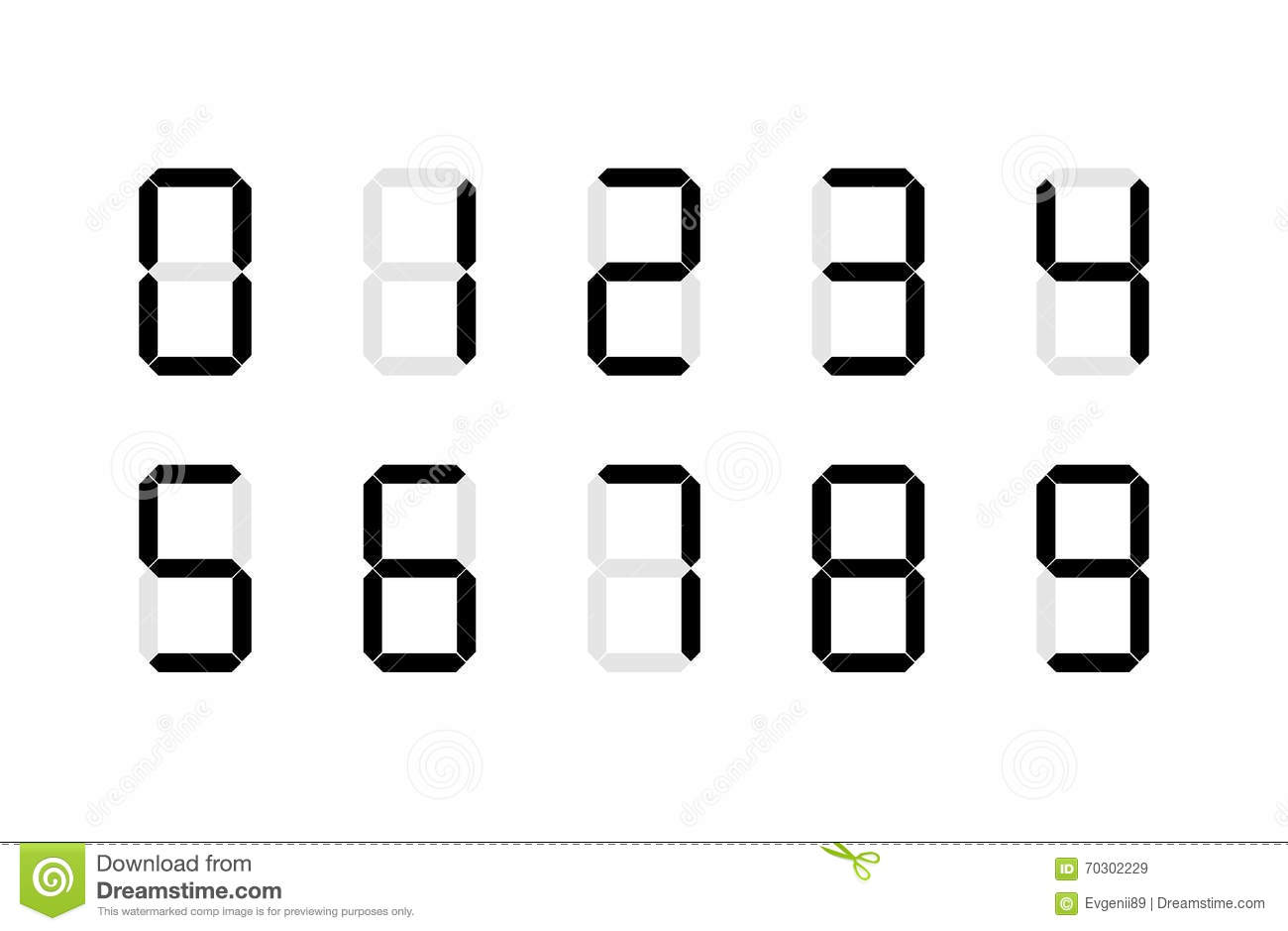 set of digital number signs made up from seven segments on