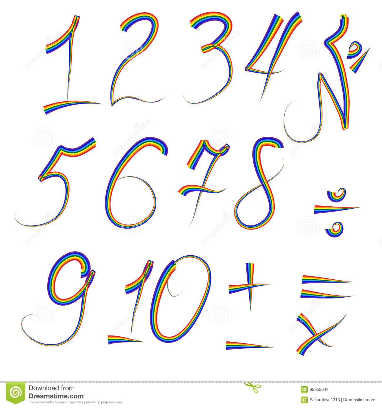A Set Of Digits From One To Ten Written In An Iridescent
