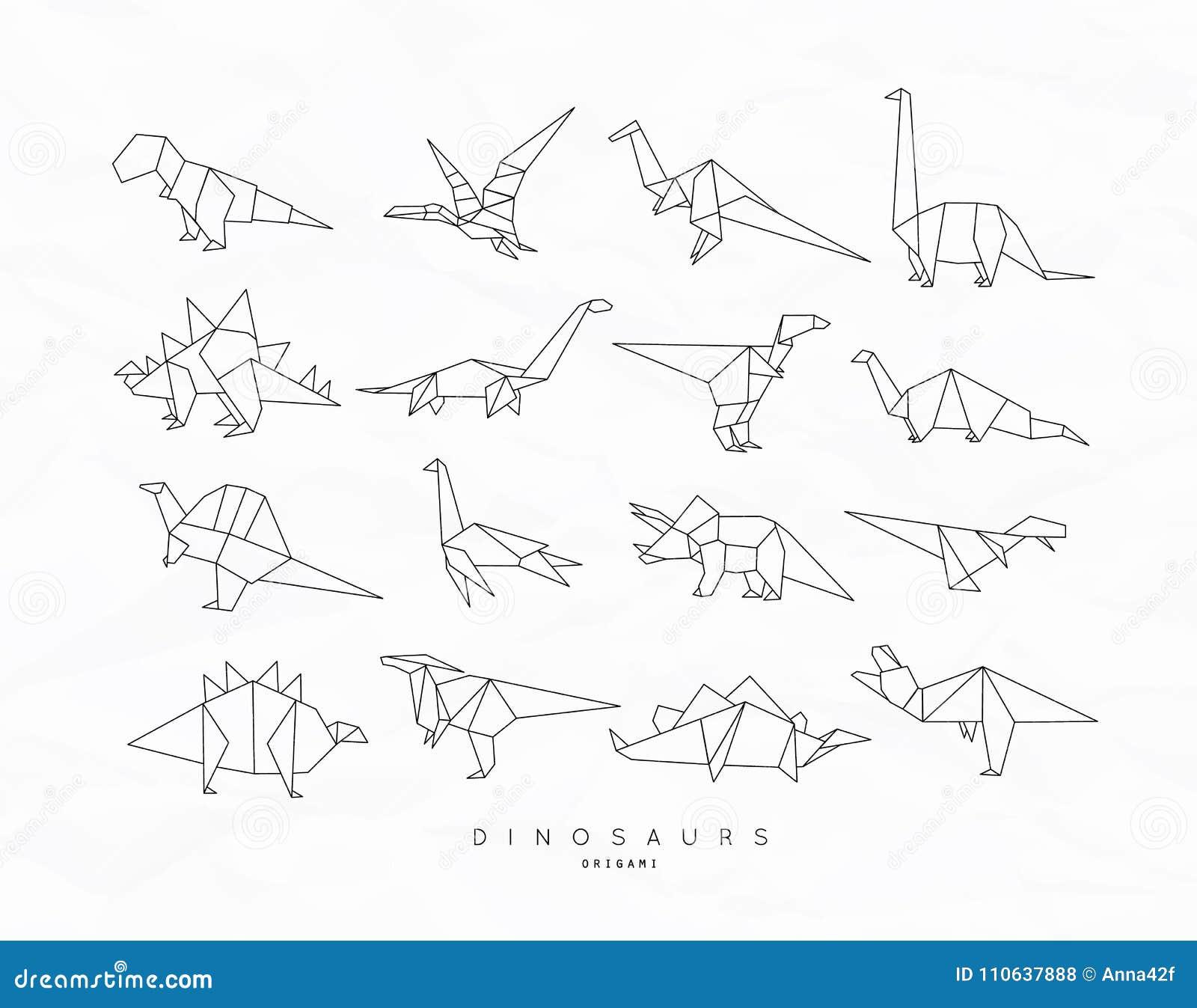 Stegosaurus Origami Diagram Electrical Wiring Diagrams Dinosaurs A List Of Online Origamidinosaur Dinosaurus Set Flat Stock Vector Illustration Jurassic Lion In