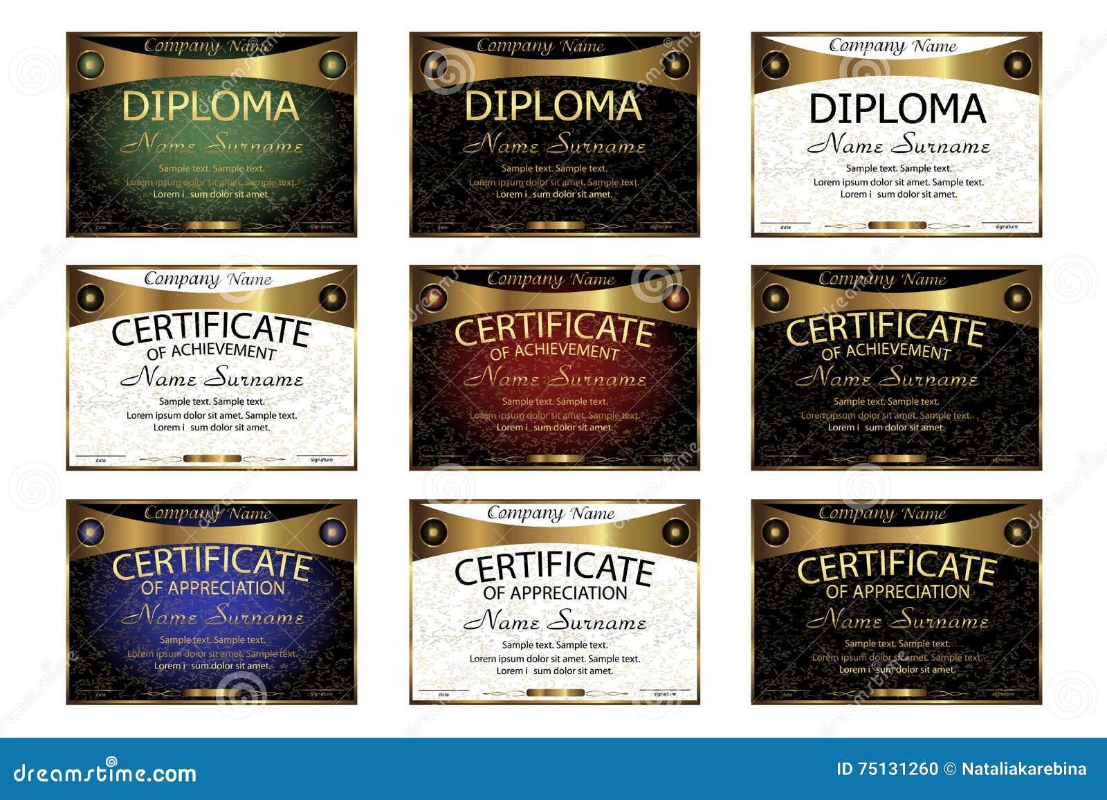 set diploma  certificate of appreciation  achievement