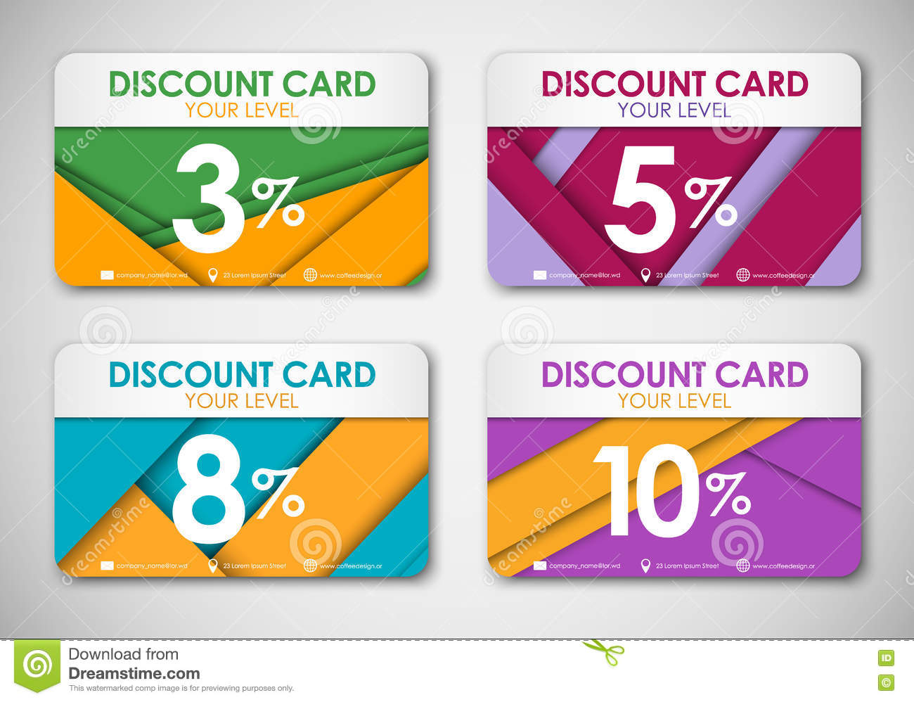 Design of discount card - A Set Of Discount Cards In The Style Of The Material Design