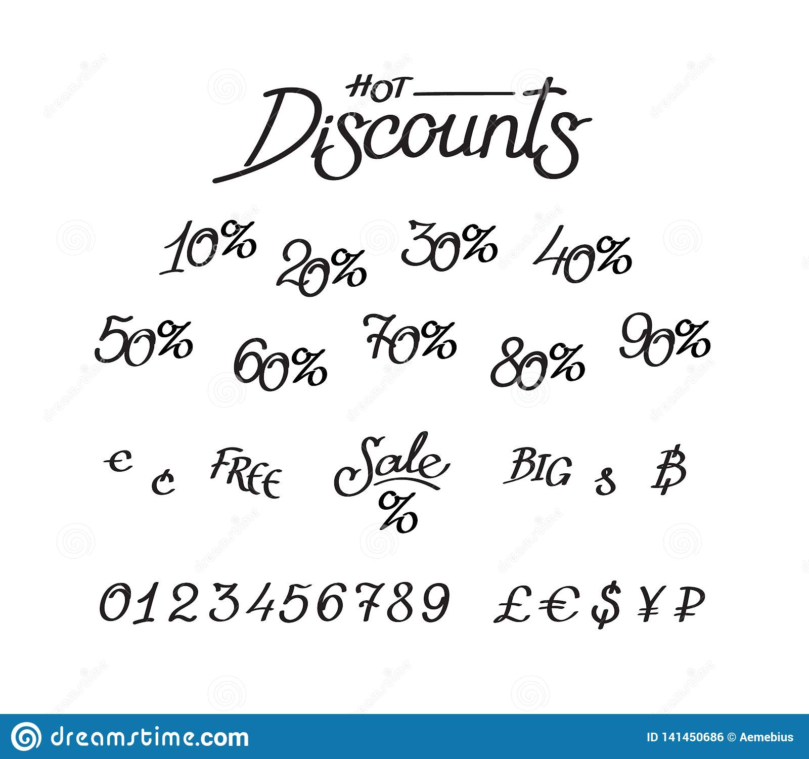 A set of discounts, digits, currency signs. Vector lettering, calligraphy. An inscription for shops and price tags. Currency signs