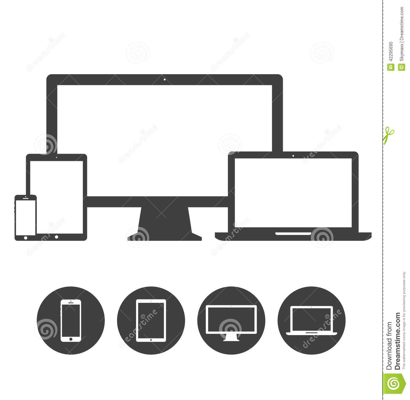 mobile device management policy template - set of display laptop tablet and mobile phones stock