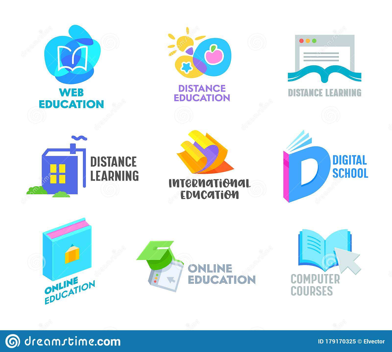 Set Of Distance Learning Banners Or Icons Online Education Courses Homeschooling Concept Book In Shape Of House Stock Vector Illustration Of Course Banner 179170325