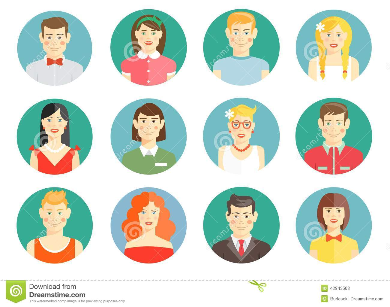 Set Of Diverse People Avatar Icons Stock Vector Image