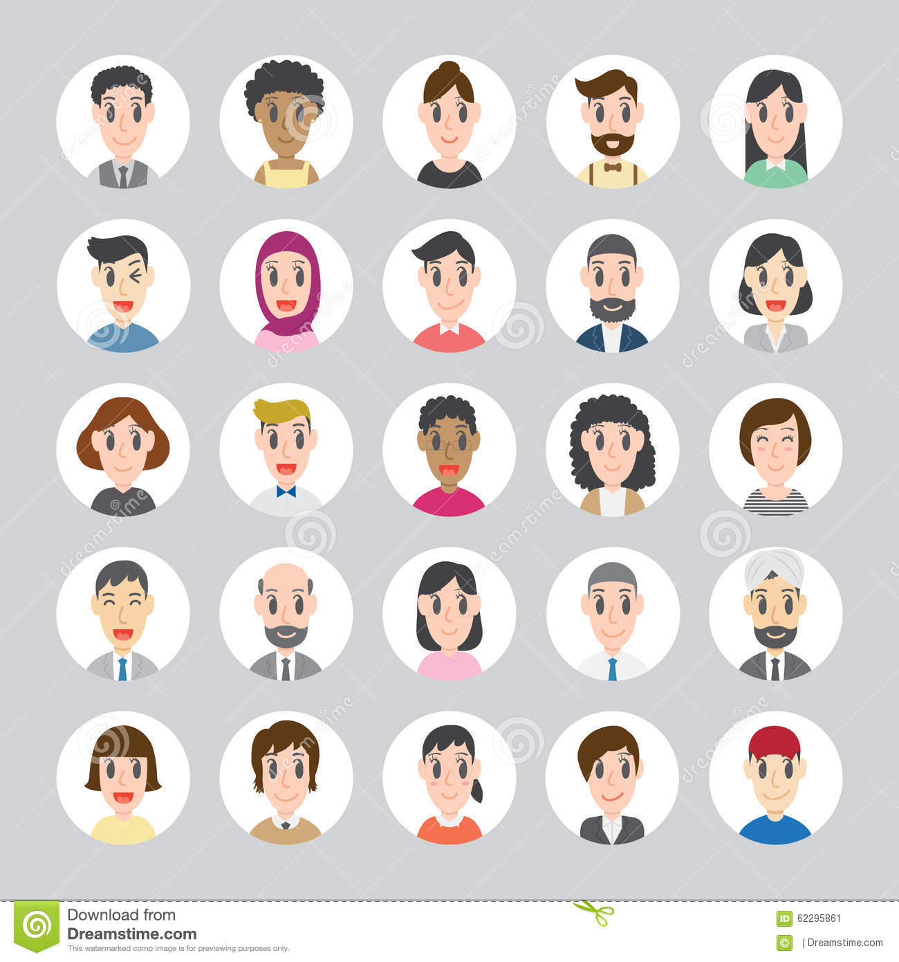 Set Of Diverse Round Avatars With Facial Features