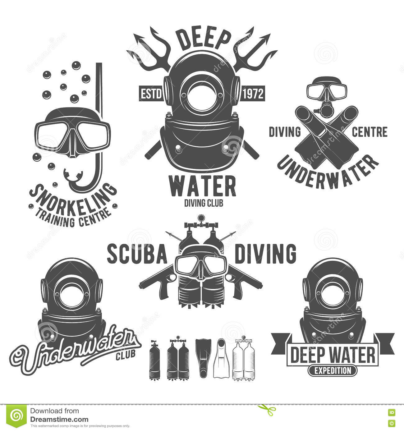 Set Of Diving Vintage Labels And Logos Stock Vector