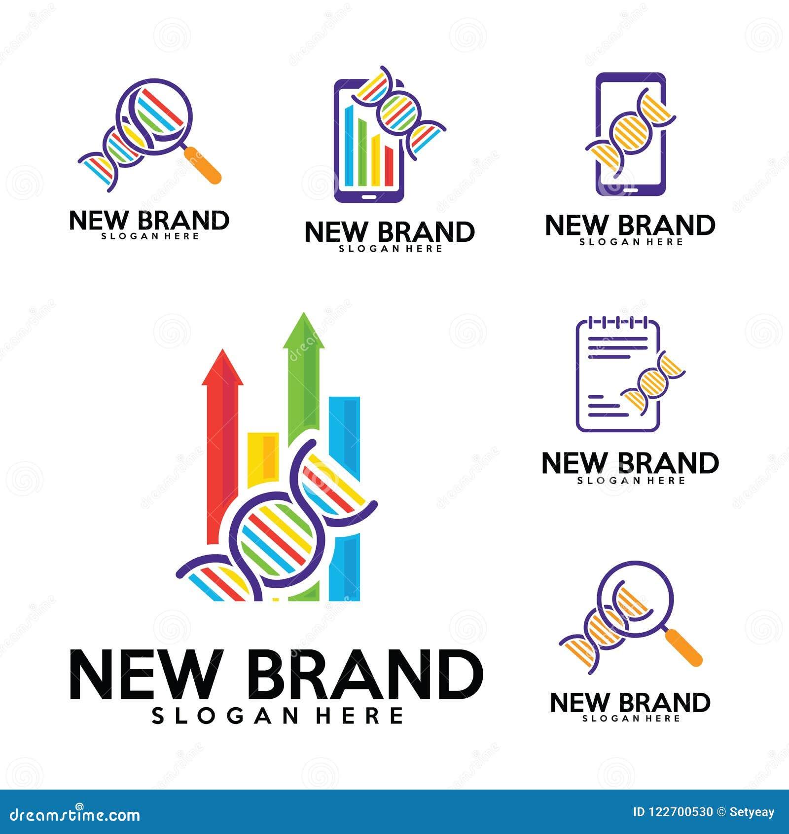 set of dna logo biology laps logo design template stats finance