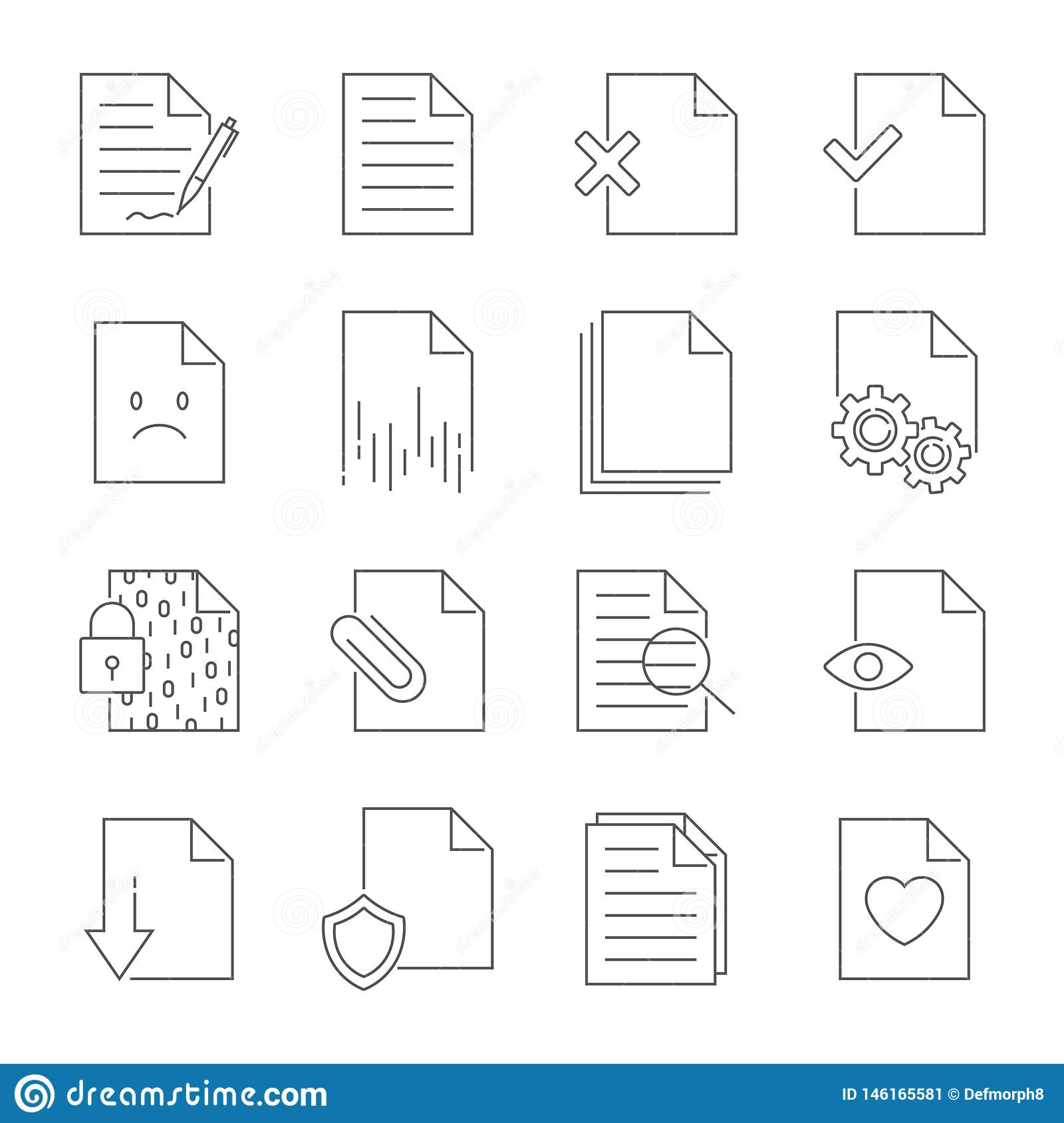 Set of Document Flow Management Vector Line Icons. Editable Stroke