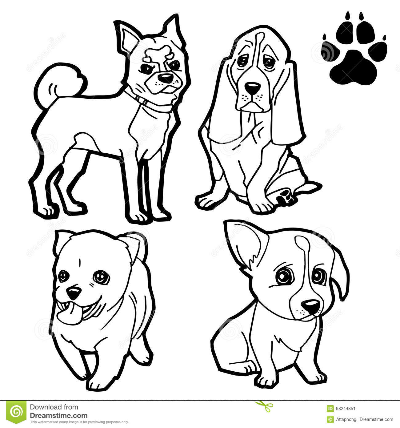 Set Of Dog Cartoon And Paw Print Coloring Book On White Background Vector Bone Blue
