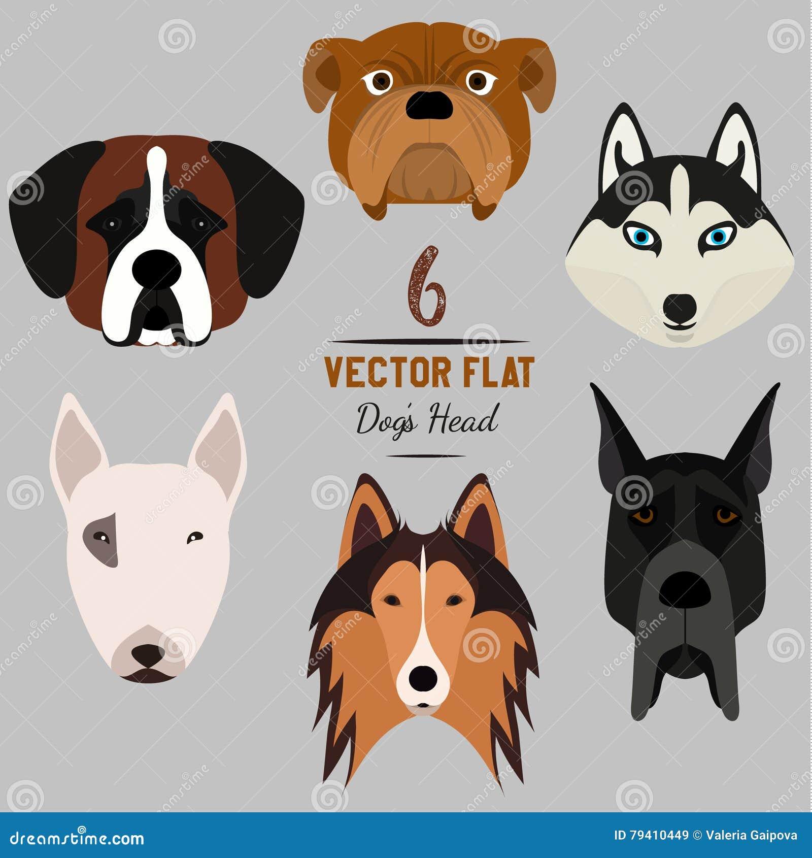 Set of 6 dog s head. Flat design. Pets. Cute doggies