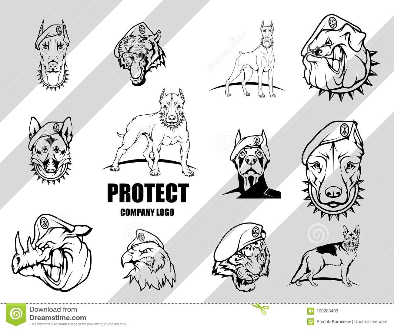 Set Of Dog. Security Company Vector Logo Design Template. Stock ...