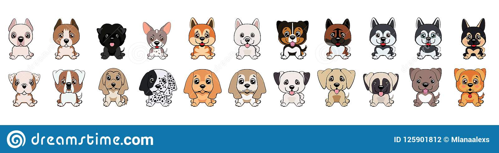 A Set Of Dogs Of Different Breeds Stock Vector Illustration Of