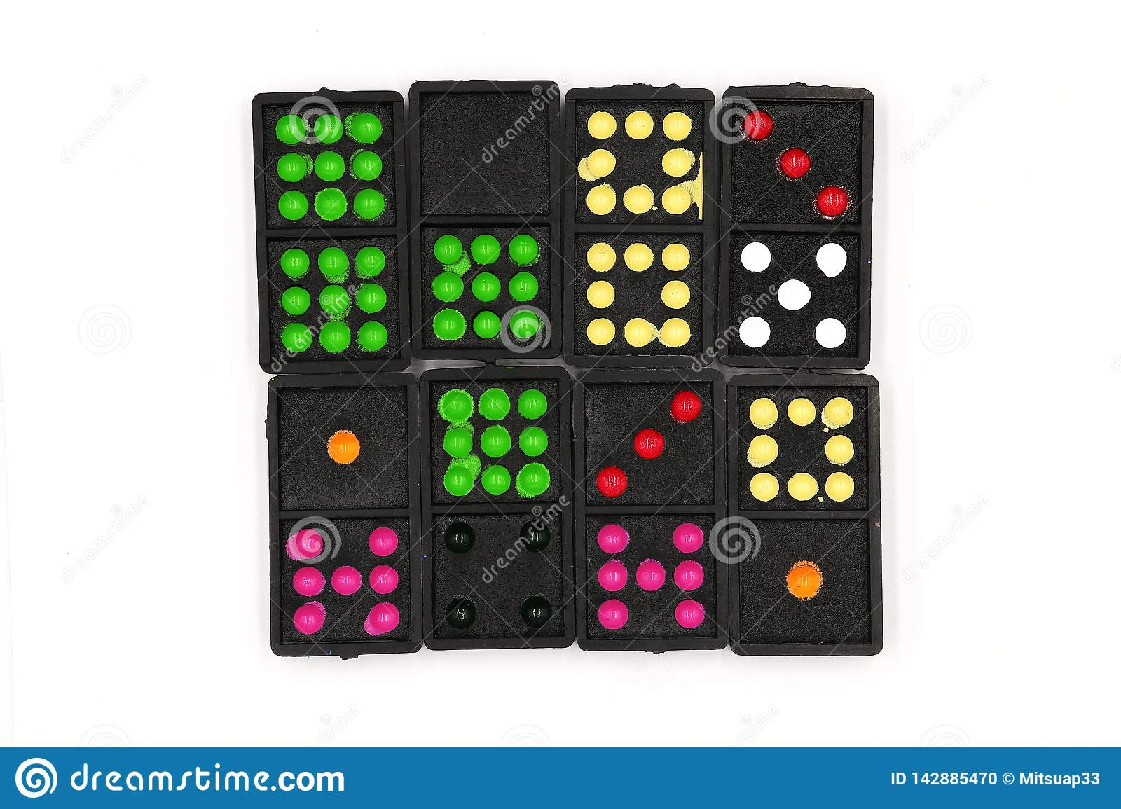 Set Of Dominoes, Domino Lie On, Close Up Old Black Color ...