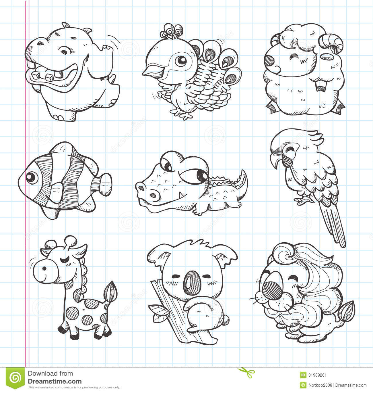 Stock Image Set Doodle Animal Icons Cartoon Vector Illustration Image31909261 on Simple House Plans