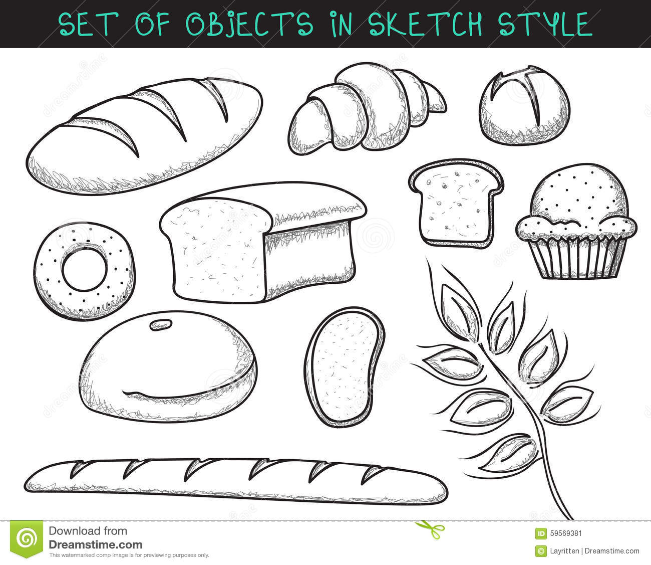 bread doodle baguette cartoons illustrations vector stock images 7856
