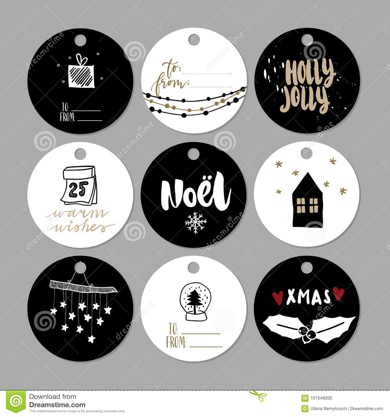 image relating to Cute Gift Tags Printable named Fastened Of Doodle Xmas Reward Tags. Vector Hand Drawn Lovable