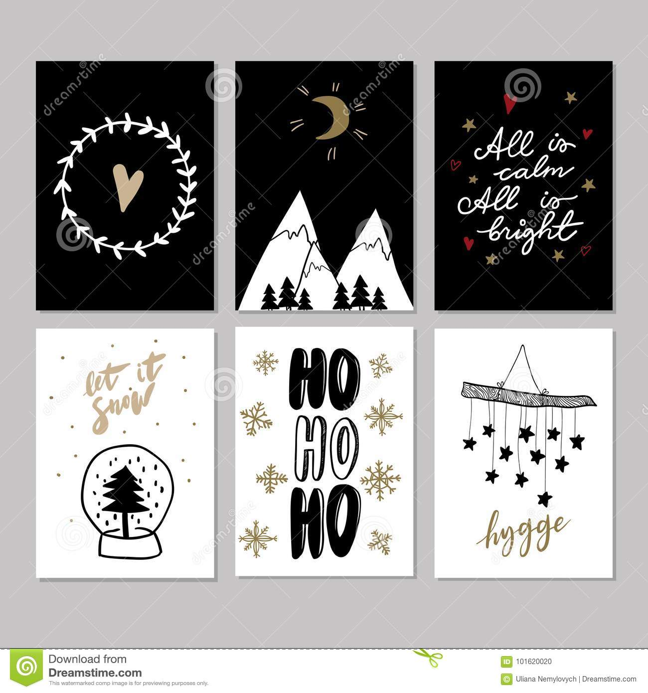 Set of doodle christmas greeting cards vector hand drawn cute icons download comp m4hsunfo