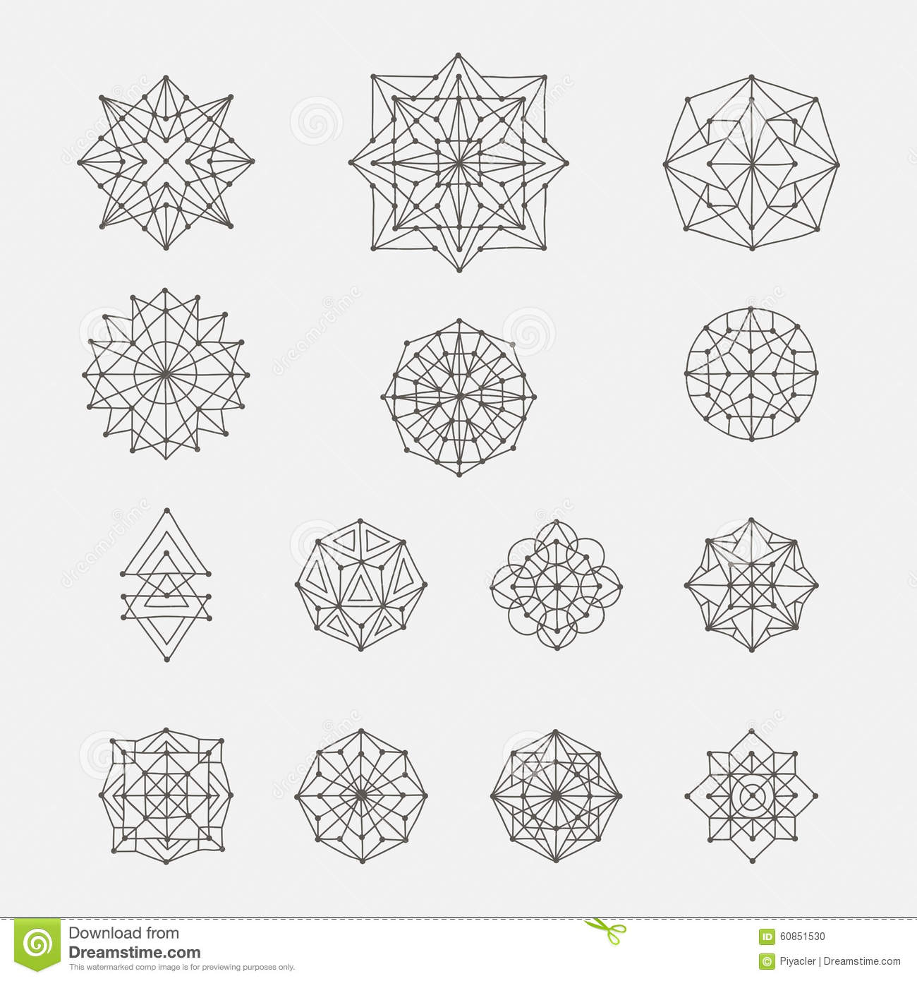 Set of doodle geometric shapes